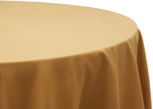 "Polyester tablecloth, 120"", gold, round Price: TT$40.00/item"