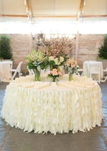 Skirting, willow, ivory, for round or rectangular table, 17' Cost per skirting: TT$200.00