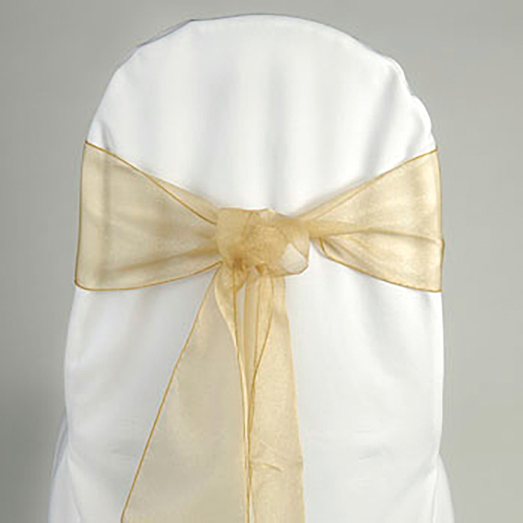 Organza chair sash gold BELLE Weddings and EventsBELLE Weddings