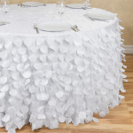 Table cloth, for 5' table, round, petal, white Cost per table cloth: TT$95.00 For orders under 5 tablecloths TT$115.00/tablecloth