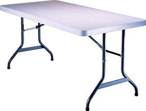 Table, folding, rectangular, 8'(large). Cost per table: TT$40.00