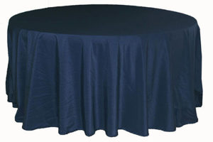 Tablecloth in navy blue, polyester. Rental Price: $40/table cloth