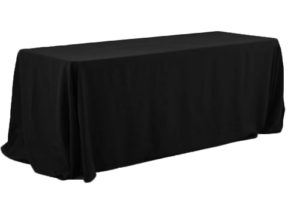 Polyester tablecloth, rectangular, black, for 6' and 8' tables, full drape. Price: TT$40.00/item