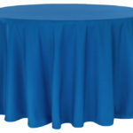 Polyester tablecloth, royal blue, round. Price: TT$40.00/item
