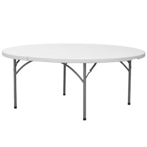 Table, round, folding, 5' diameter. Cost per table: TT$40.00 (plus a delivery charge where applicable)