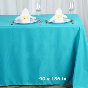 Polyester tablecloth, rectangular, aqua blue - for 6-foot and 8-foot tables, full drape. Price: TT$40.00/item