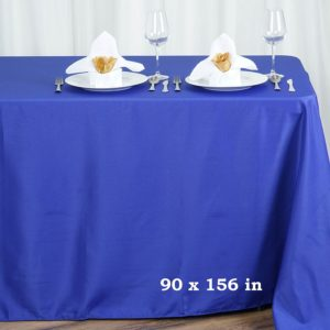 Polyester tablecloth, rectangular, royal blue - for 6-foot and 8-foot tables, full drape. Price: TT$40.00/item