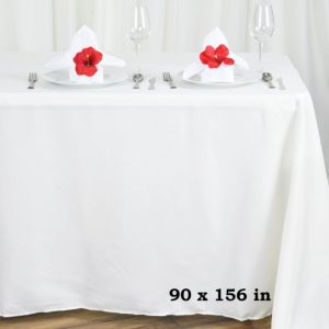 Polyester tablecloth, rectangular, ivory - for 6-foot and 8-foot tables, full drape. Price: TT$40.00/item