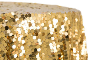 Gold sequin, large Payette, linen (Limited quantity available. Use for special tables eg. cake table) $250/linen