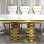 COMING SOON - Table, gold and white, bold - $200
