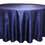 "Taffeta, navy blue, 120"", round Price: TT$50.00 per item"