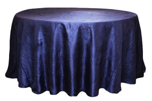 "Taffeta, navy blue, 120"", round Price: TT$50.00 per item"