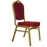 Chair, banquet, burgundy velvet fabric and gold tube Price: TT$10.00/chair