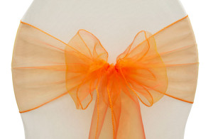 Organza chair sash, orange Cost per sash: TT$2.75