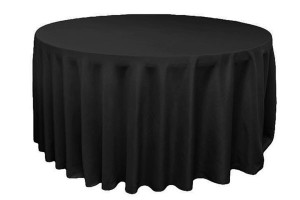 "Polyester table cloth, 120"", black, round Price: TT$40.00/item"