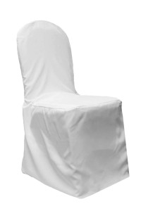 Polyester white chair cover, banquet. Cost per cover: TT$7.00