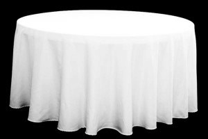 "Polyester white tablecloth, round, 120"" Price: TT$35.00/table cloth"