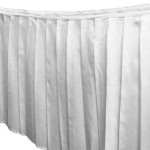 Polyester white skirting, 17', with table cloth Price: TT$100.00