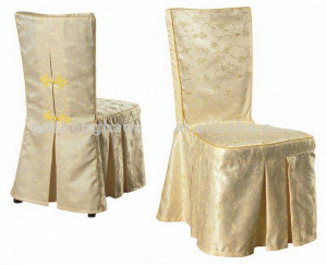 Polyester chair cover, ivory, with chair tie detail at back. Cost per cover: TT$12.00