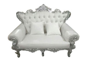Love Couch, White and Silver - $800/night