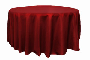 Tablecloth in apple red, polyester. Rental Price: $40/table cloth