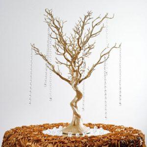 Manzanita tree, centrepiece, gold. Price: $200/centrepiece