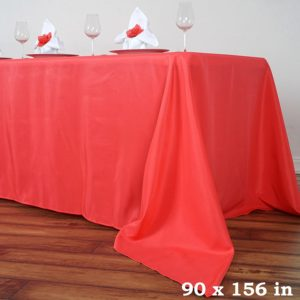 Polyester tablecloth, rectangular, coral - for 6-foot and 8-foot tables, full drape. Price: TT$40.00/item