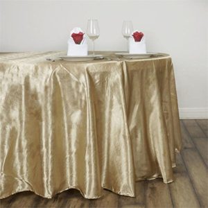 Satin tablecloth, champagne, round, full drape. Price: TT$40.00/item