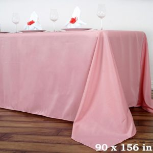 Polyester tablecloth, rectangular, rose - for 6-foot and 8-foot tables, full drape