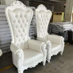 COMING SOON - Throne chairs, white (pair) - $1,200
